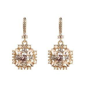 MARCHESA GoldTone Crystal Faux Pearl Drop Earrings